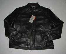 NWT Mens BOSTON HARBOUR Black 100% Leather Full Zip Lined Jacket Coat Size L