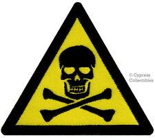 SKULL CROSSBONES WARNING BIKER PATCH embroidered POISON iron-on SKELETON SYMBOL