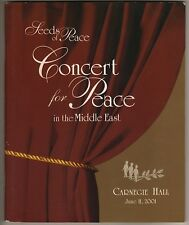 """Concert for Peace"" Program 2001 Carnegie Hall ""Seeds of Peace"" Marvin Hamlisch"