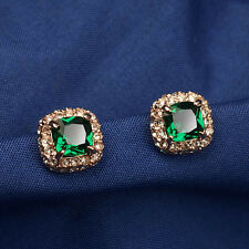LOVELY 18K GOLD PLATED GENUINE EMERALD SWAROVSKI CRYSTAL SQUARE STUD EARRINGS