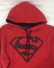 Red Superman Black Cracked Logo Pullover Hoodie Men's Size XL