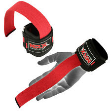 MRX Weight Lifting Bar Straps Gym Bodybuilding Wrist Support Wraps Bandage Red