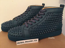 Christian Louboutin Louis Plana becerro Spikes Us 9.5 Uk 8.5 42,5 turquin Aqua Metal