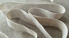 2m 100% LINEN 20mm woven herringbone tape, trim, ribbon, webbing. High Quality