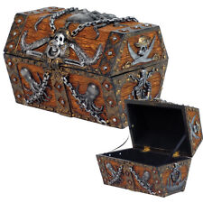 Pirate Skull Cross Blade Octopus Treasure Chest Of Caribbean Sea Jewelry Box.New