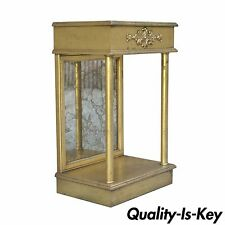 Vintage French Neoclassical Style Gilt Wood Eglomise Mirror Shelf Console Table