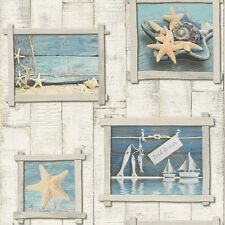 Blue Starfish Beige Wood Panel Bathroom Wallpaper Tiling on a Roll 854107