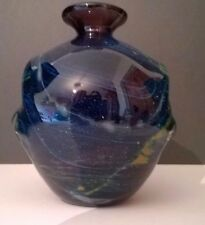 Mdina Michael Harris  Amethyst art Glass Amphora (Pulled Ears) Vase with label