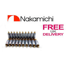 20x PCS 24K NAKAMICHI RCA Jack Plug Locking Connector 10mm **UK**