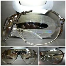 Mens Women MODERN SHIELD AVIATOR Style Clear Lens SUN GLASSES Silver White Frame
