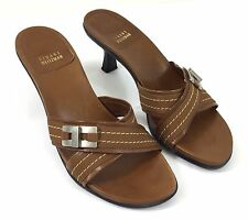 Stuart Weitzman Brown Criss-Cross Slide Sandals Leather With Fabric Trim Size 10