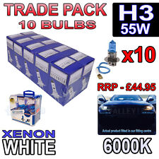 10 x H3 55w Xenon White Halogen Bulbs 6000k - Trade Bulk Wholesale 10 Pack Fog