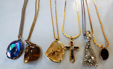Lot of 6 VTG gold tone metal chains & pendants cross rhinestones glass necklaces