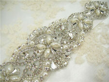 Handmade Crystal Beaded Rhinestone Bridal Applique Trim sash for Bridal Belt