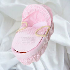 Pink Broderie Anglaise Moses Basket Dressing Set Covers and Hood Rods