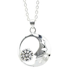 Stylish & Elegant Silver Plated Hollow Moon with Stars Pendant Necklace N288