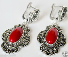 Vintage 925 Sterling Silver Red Coral Gemstone Marcasite Dangle Earrings