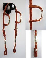 Doppel Einohr Zaum aus Harnessleder mit Silberhülsen Western Trense