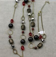 Lia sophia signed jewelry black tone long necklace chain red beads free ship