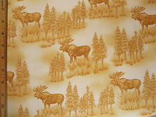 Moose woods trees Print cotton fabric BY THE YARD