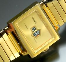 Vintage Endura Watch (Swiss) Early Digital Display Gold-Tone Hand Wind C. 1960s