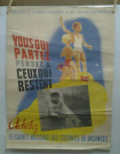 AFFICHE ORIGINALE ANCIENNE CARNET NATIONAL COLONIES DE VACANCES R BLEUER