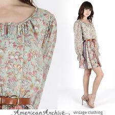 Vintage 70s Boho Hippie Dress Floral Puff Sleeve Sheer Secretary Prairie Mini