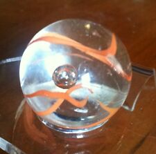 rare Vintage Marble Studio Glass Controled Air Bubble Orange Ribbon