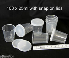 25ml medicine measuring measure cups gallipots 100 with snap on lids cap caps