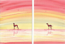PAIR of Whippet greyhound dog  ORIGINAL  Watercolour  paintings By Bridgette lee