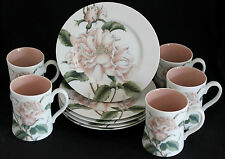 "Set of 5 FITZ & FLOYD ""SUMMER ROSES"" SALAD/DESSERT PLATES &  MUGS Peach Rose"