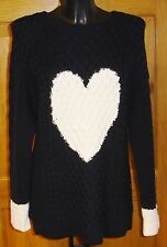 CHINTI AND PARKER NAVY WOOL JUMPER WITH WHITE HEART UK 10 BNWT