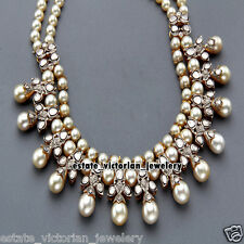 Vintage Estate 8.53ct Rose Antique Cut Diamond Jewelry Pearl 925 Silver Necklace
