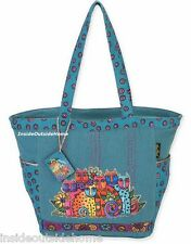 Laurel Burch Cat Feline Clan Large Shoulder Tote Bag Woven Fabric New