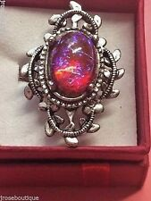 925 Silver adjustable ring Mexican Fire Opal Dragons Breath purple pink GOLD PLT
