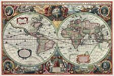 ANCIENT WORLD MAP 16th CENTURY Photo Wall Mural Poster ANTIQUE Decor 118X84cm