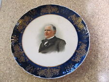 VINTAGE KNOWLES TAYLOR DECORATIVE PRESIDENTIAL PLATE GILT GOLD BLUE