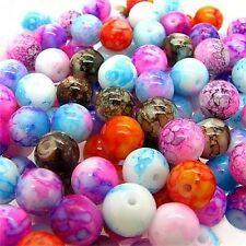 100pcs 8mm Mix Color Glass Loose Beads in Bulk