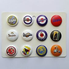 12 x VESPA SCOOTER PIN BADGES DIAMETER 2.5 CM DIAMETER