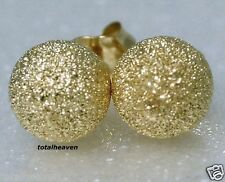 8mm Solid 14K Yellow Gold Sparkling STARDUST Ball Stud Earrings