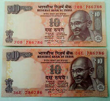 10 RUPEE - 1-HOLI / HOLY  NUMBER ''786786''  UNC FINE CONDITION RARE NOTE- INDIA