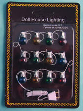 12 Christmas Exterior Ball Lights Set, Dolls House Miniatures, Xmas Lights,