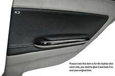 WHITE STITCH 2X REAR DOOR CARD TRIM LEATHER COVERS FITS BMW E46 COUPE 1998-2005