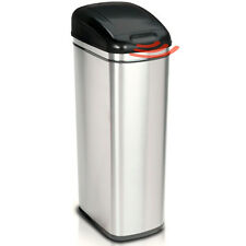 60L Stainless Steel Kitchen Waste Sensor Bin Silent Close Black Touchless Lid BN