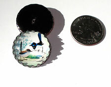 Birds Glass Dome Button handcrafted collectible shank sew or pin on