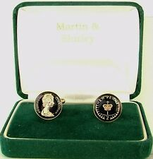 1980 Half P cufflinks from real coins in Black & Gold
