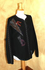 Negg Seattle Fiber Artist Funky Art-to-Wear Wool Abstract Graphic Jacket Sz