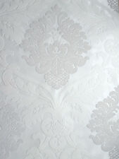 Wow! Bling Bling White & Silver Glitter Damask Textured Feature Wallpaper