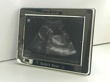 ENGRAVED PERSONALISED SILVER PLATED BABY SCAN PICTURE PHOTO FRAME 3.5X5""