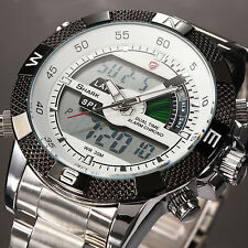 SHARK Fashion Mens LCD Digital Date Day Stainless Steel Sport Quartz Wrist Watch